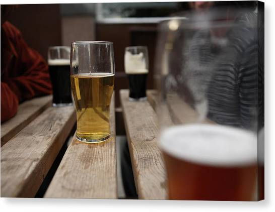 Pints Of Lager On A Pub Table Canvas Print