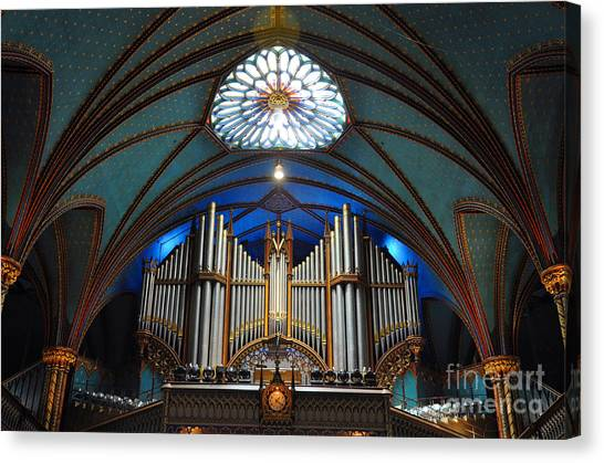 Worship Canvas Print - Pipe Organ Of Montreal Notre-dame by Wangkun Jia