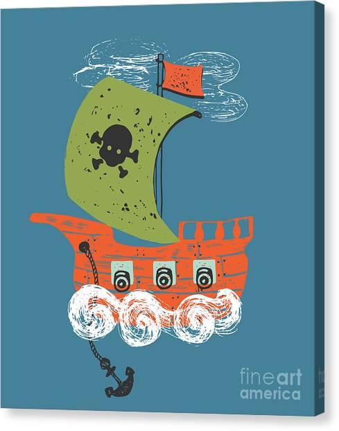 Yacht Canvas Print - Pirate Shiphand Drawn Vector by Eteri Davinski