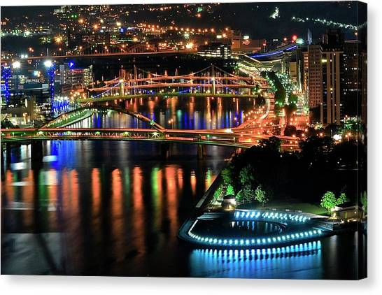 031a352a2f2 Town Point Park Canvas Print - Pittsburgh Bridges Alight by Frozen in Time  Fine Art Photography