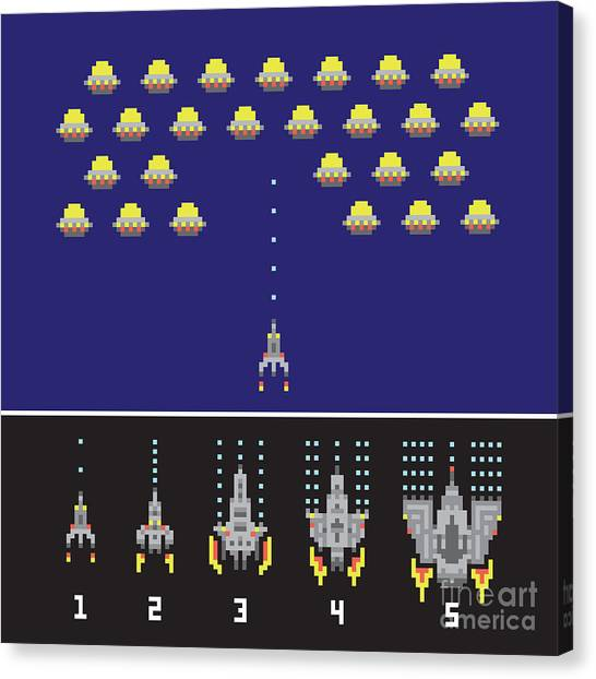 Pixel Art Style Space War And Spaceship Canvas Print by Dmitriylo