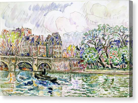 Signac Canvas Print - Place Dauphine - Digital Remastered Edition by Paul Signac