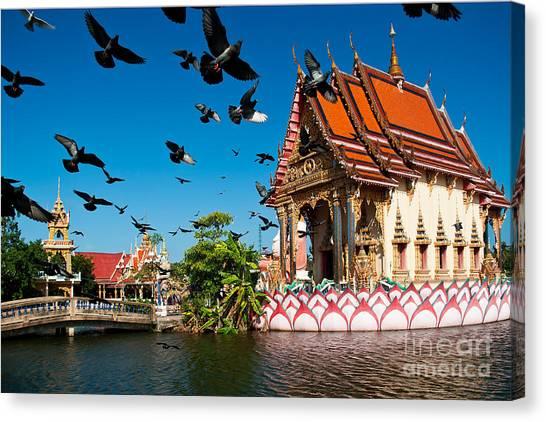 Monument Canvas Print - Plai Laem Temple In  Koh Samui, Thailand by Guzel Sakhabieva