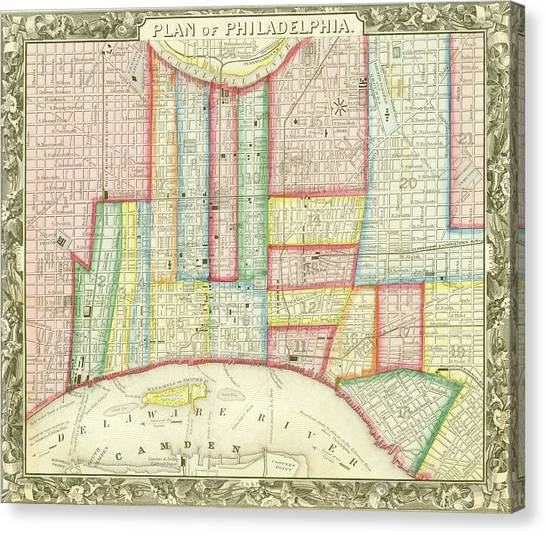 Plan Of Philadelphia, 1860 Canvas Print
