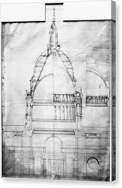 Plan Of St Pauls Canvas Print by Topical Press Agency