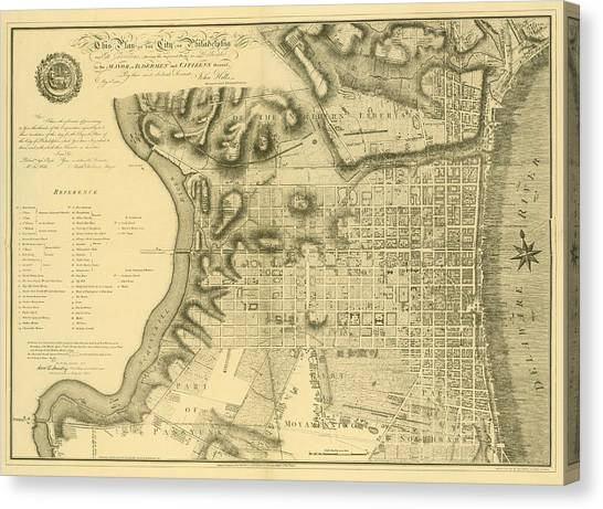 Plan Of The City Of Philadelphia And Its Environs Shewing The Improved Parts, 1796 Canvas Print