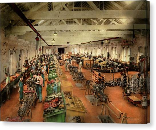 Canvas Print featuring the photograph Plane - Factory - Aircraft Repair 1919 by Mike Savad