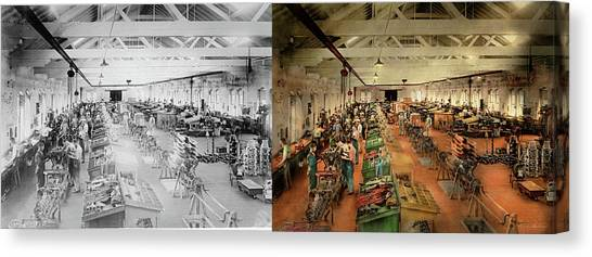 Canvas Print featuring the photograph Plane - Factory - Aircraft Repair 1919 - Side By Side by Mike Savad