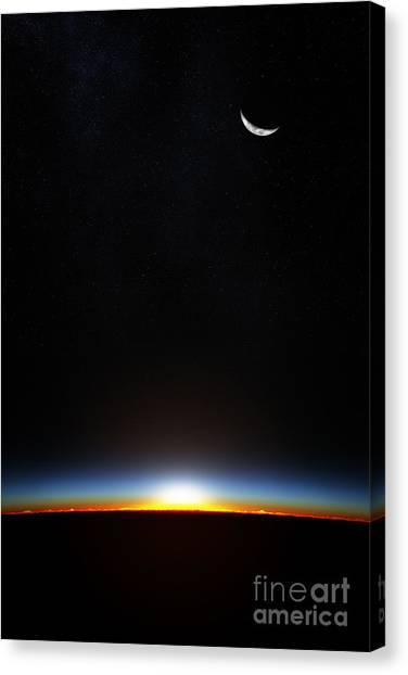 Atmosphere Canvas Print - Planet Earth From Space As The Sun by Johan Swanepoel
