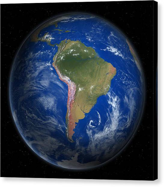 Planet Earth From Space, South America Canvas Print by Saul Gravy