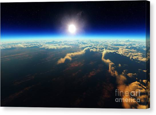 Atmosphere Canvas Print - Planet Earth Sunrise Over Cloudy Ocean by Johan Swanepoel