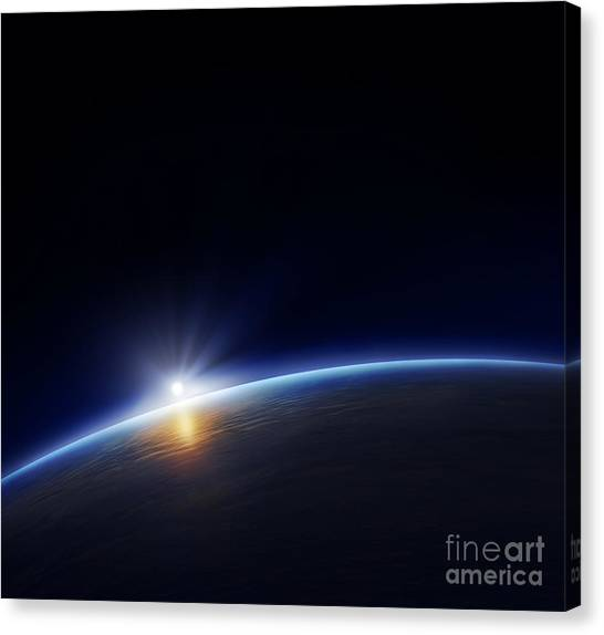 Solar System Canvas Print - Planet Earth With Rising Sun In Space by Johan Swanepoel