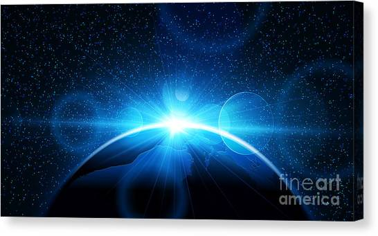 Sun Canvas Print - Planet Earth With Sunrise In Space by Pasko Maksim