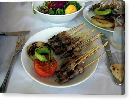 Plate Of Kebabs And Salad For Lunch Canvas Print