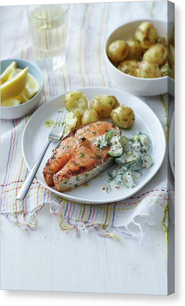 Plate Of Salmon, Potatoes And Salad Canvas Print by Cultura Rm Exclusive/brett Stevens