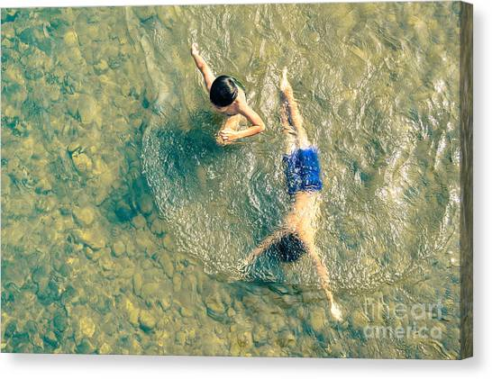 Happiness Canvas Print - Playful Children Swimming In Nam Song by View Apart