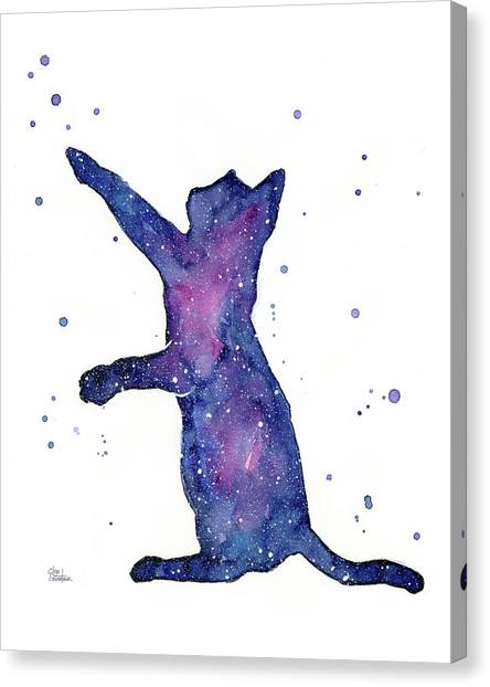 Celestial Canvas Print - Playful Galactic Cat by Olga Shvartsur