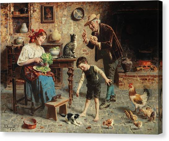 Grandpa Canvas Print - Playtime by Eugenio Zampighi