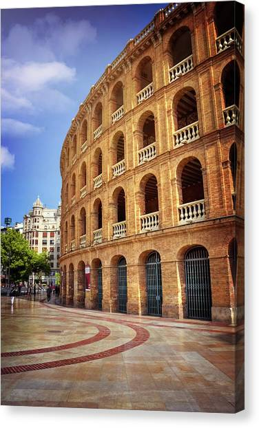 Neoclassical Art Canvas Print - Plaza De Toros De Valencia Spain by Carol Japp