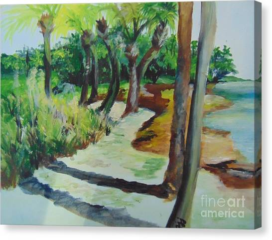 Canvas Print featuring the painting Plen Aire Palms by Saundra Johnson