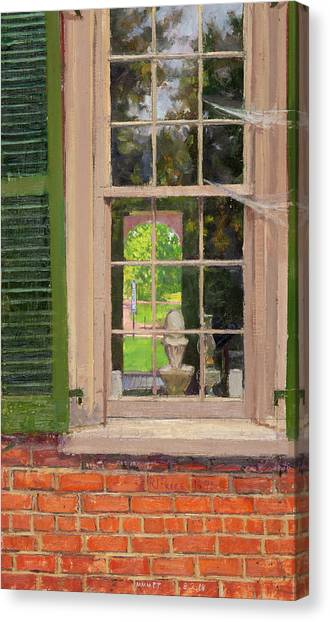 University Of Virginia Canvas Print - Poe Alley Window by Edward Thomas