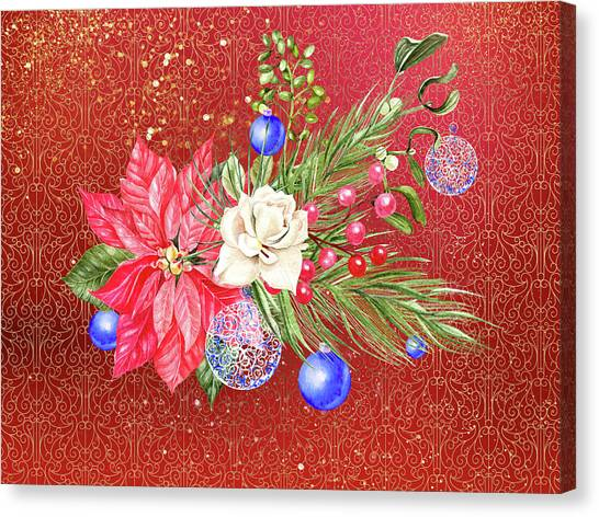 Poinsettia With Blue Ornaments  Canvas Print