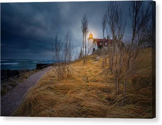 Point Betsie Lighthouse In Frost Canvas Print