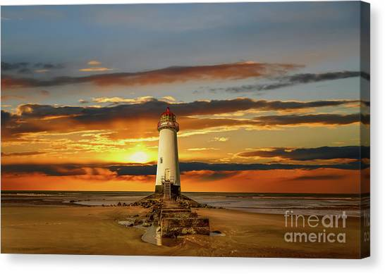Canvas Print - Point Of Ayr Lighthouse Sunset by Adrian Evans