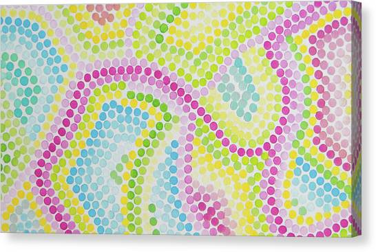 Pointillism - Palm Beach Pink And Green Canvas Print