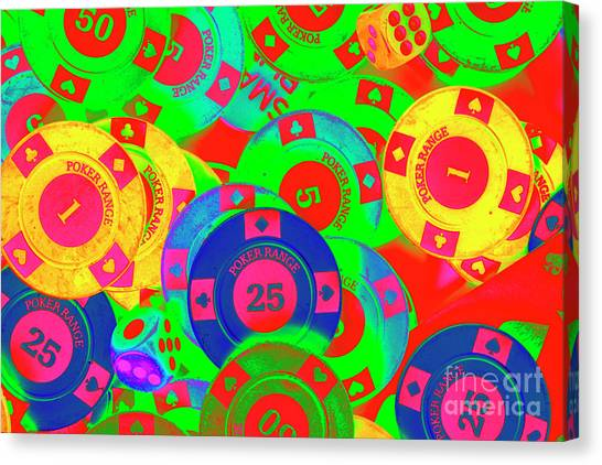 Neon Canvas Print - Poker Stacks by Jorgo Photography - Wall Art Gallery