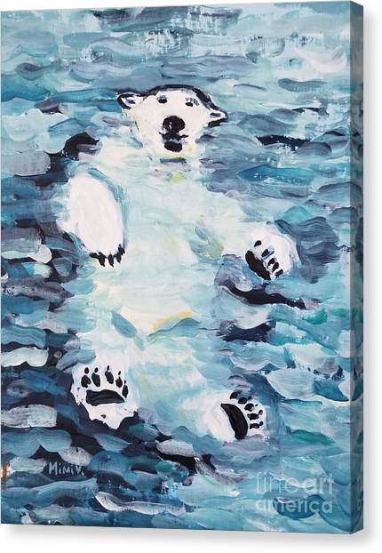 Canvas Print featuring the painting Polar Bear by Maria Langgle