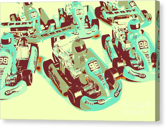 Carts Canvas Print - Poll Position Posterized by Jorgo Photography - Wall Art Gallery