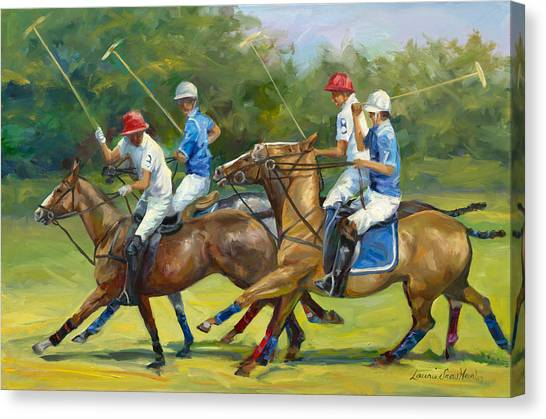 Polo Canvas Print - Polo Foursome by Laurie Hein