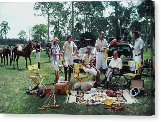 Sports Clothing Canvas Print - Polo Party by Slim Aarons