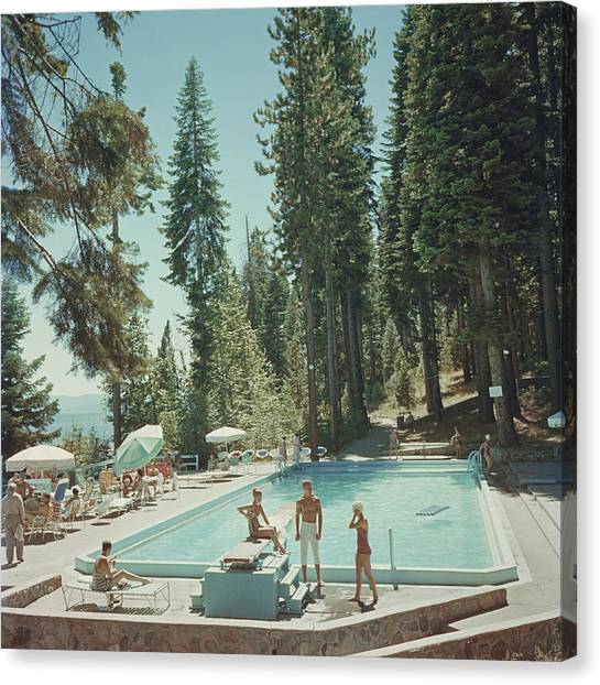 Pool At Lake Tahoe Canvas Print by Slim Aarons
