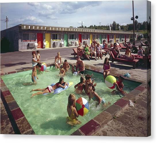 Poolside Fun At Arca Manor Canvas Print by Aladdin Color Inc