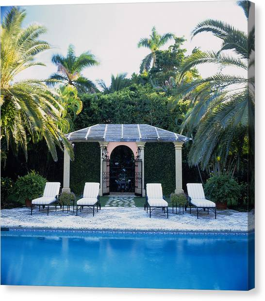 Poolside, Palm Beach, Florida, Usa Canvas Print