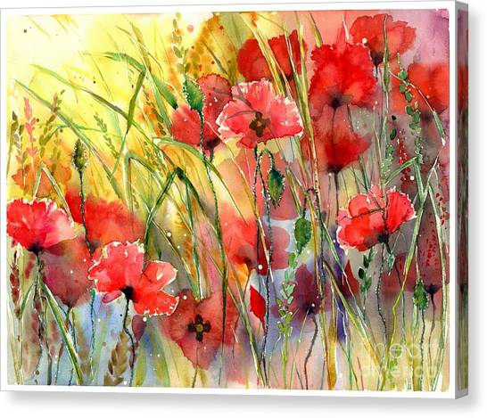 Ears Canvas Print - Poppies Bathing In The Sun by Suzann's Art