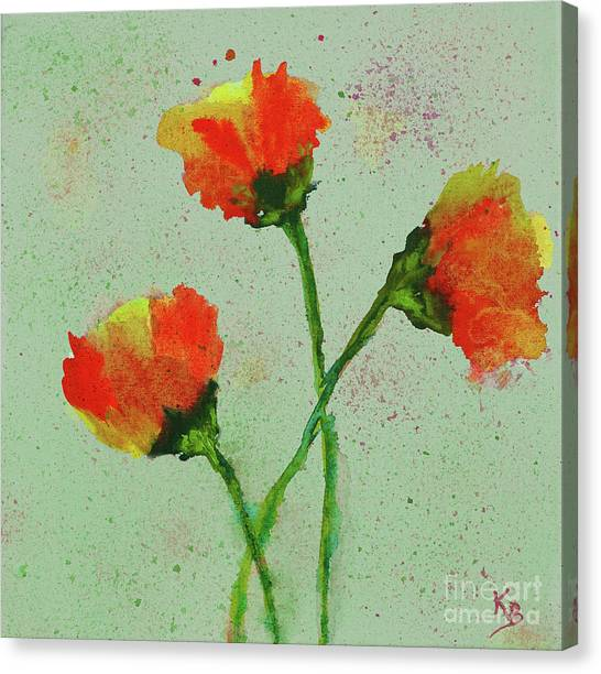 Canvas Print featuring the painting Poppies by Karen Fleschler