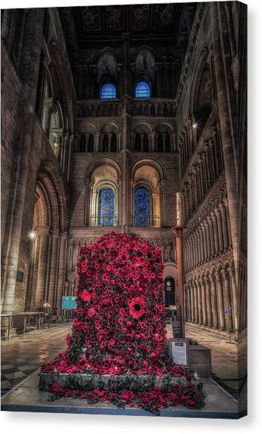 Poppy Display At Ely Cathedral Canvas Print