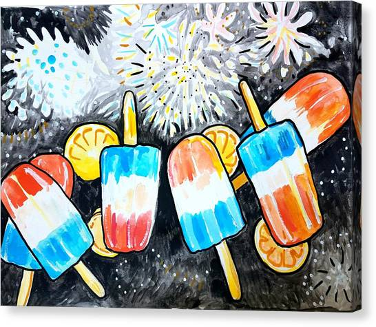 Popsicles And Fireworks Canvas Print
