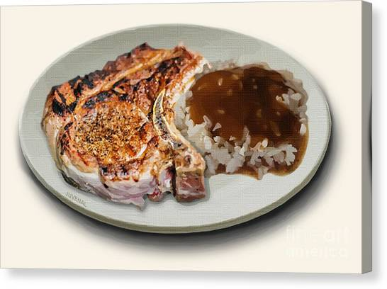 Fashion Plate Canvas Print - Pork Chop And Rice by Joseph Juvenal