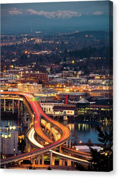 Portland At Night Canvas Print
