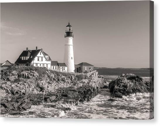 Canvas Print featuring the photograph Portland Head Light Black And White by Dan Sproul