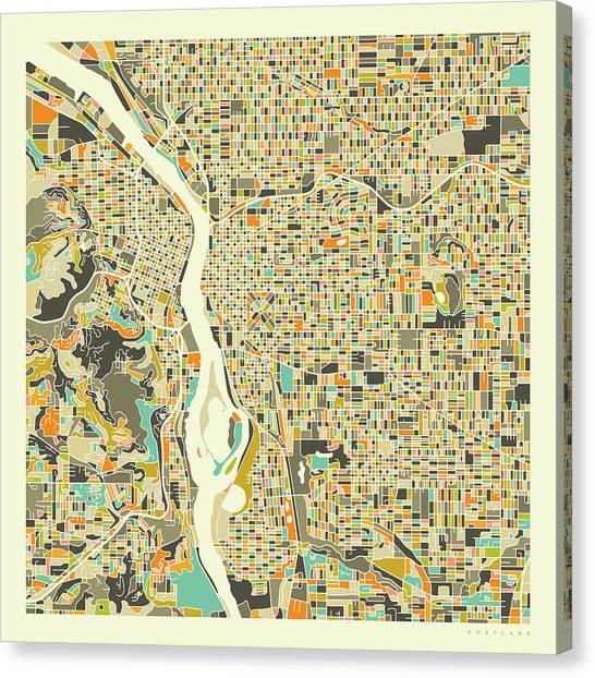 Portland Canvas Print - Portland Map 1 by Jazzberry Blue
