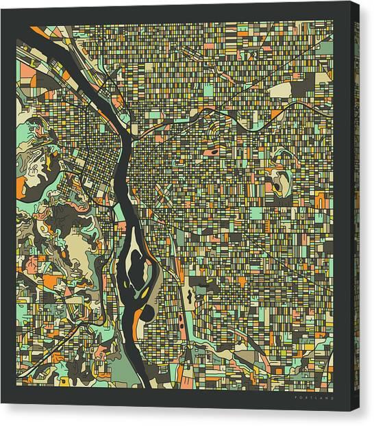 Portland Canvas Print - Portland Map 2 by Jazzberry Blue