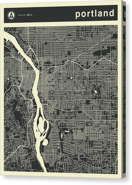 Portland Canvas Print - Portland Map 3 by Jazzberry Blue