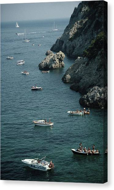 Porto Ercole Boats Canvas Print by Slim Aarons