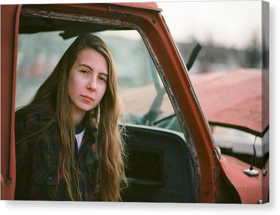 Canvas Print featuring the photograph Portrait In A Truck by Carl Young