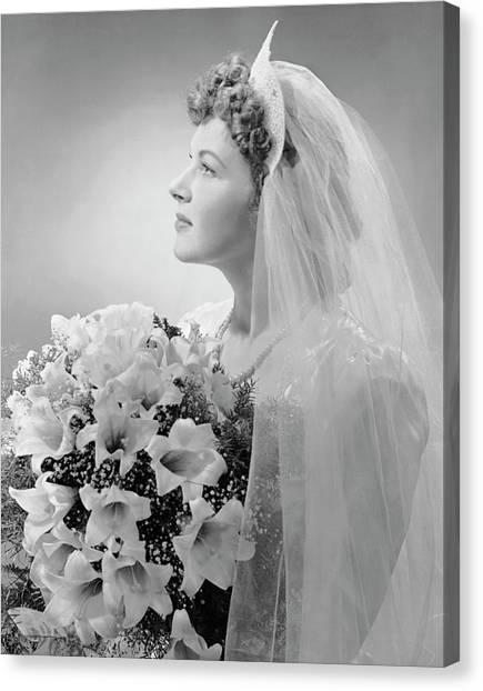 Wedding Bouquet Canvas Print - Portrait Of Bride by George Marks